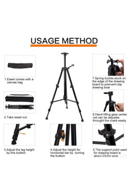 Easel: Aluminum Sketching Easel with Compass Level (multi color)