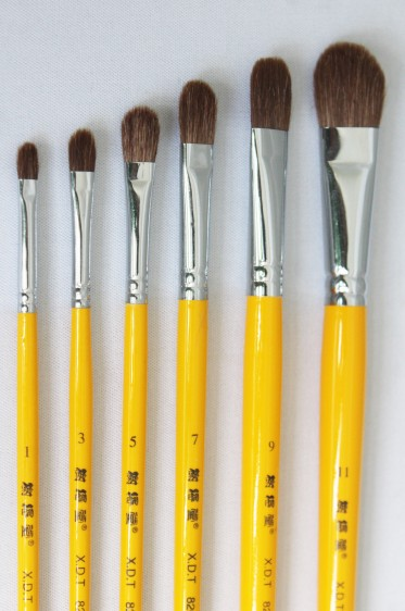 XDT Quality Brush: 826 Horse Hair Filbert Set 6's