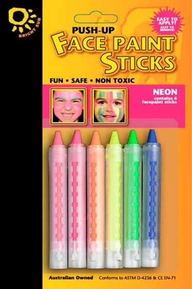 Derivan Face & Body Paint: Push Up Face Paint Stick Neon Set